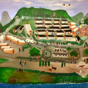 A painting of Haitian refugees detained in a camp in Guantanamo, Cuba